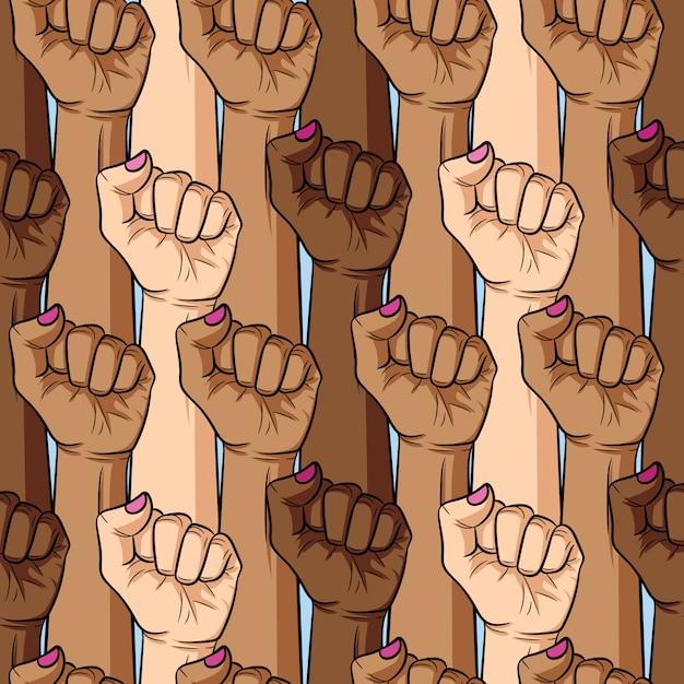 女性の拳のさまざまな国籍と肌の色のシームレスなパターンをベクトル。女の子パワー Premiumベクター