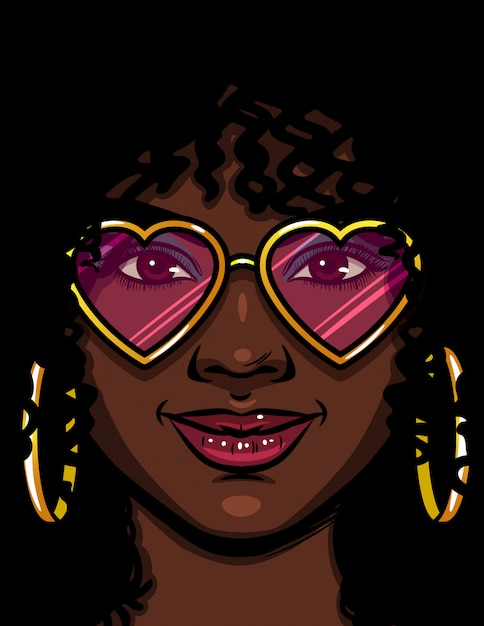 Цветные векторные иллюстрации афро-американской женщины в розовых очках. счастливая женщина в любви. лицо красивой женщины с косметикой и вьющимися волосами. женщина с круглыми золотыми серьгами и очками в форме сердца Premium векторы