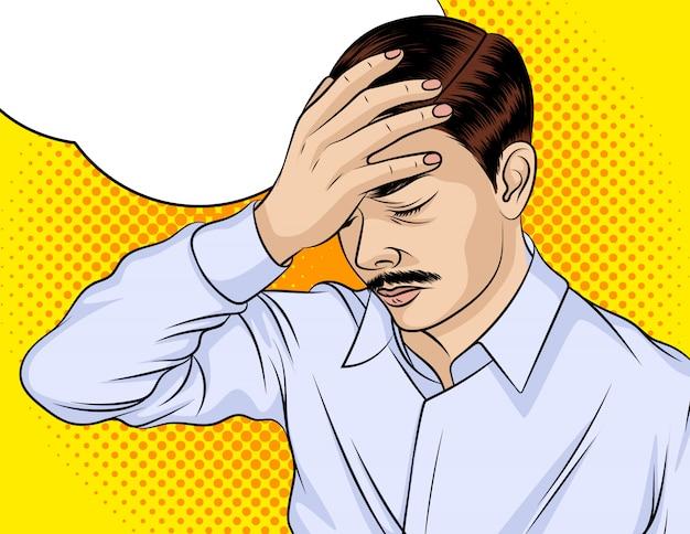 Цветная векторная иллюстрация. мужчина расстроен. мужчина в депрессии. у мужчины болит голова Premium векторы