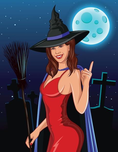 ハロウィーンの色ベクトル図。笑みを浮かべて、指を上向きにほうきで魔女。 Premiumベクター