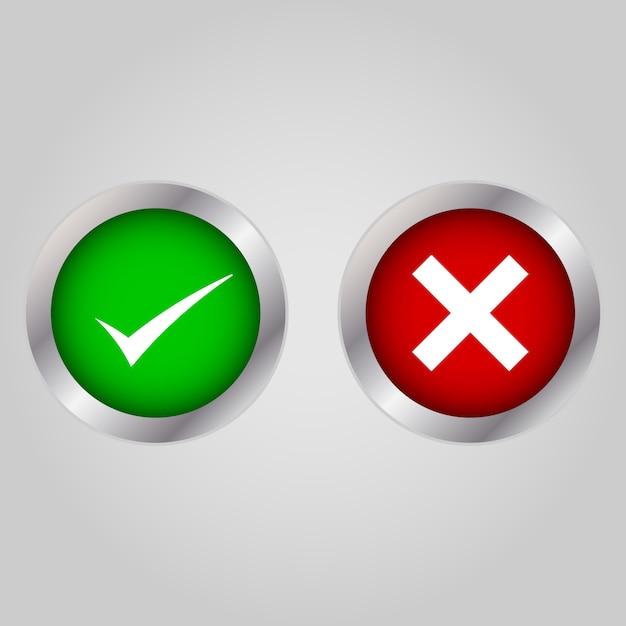 チェックボックスリストのアイコンセット、緑と赤の白で隔離 Premiumベクター