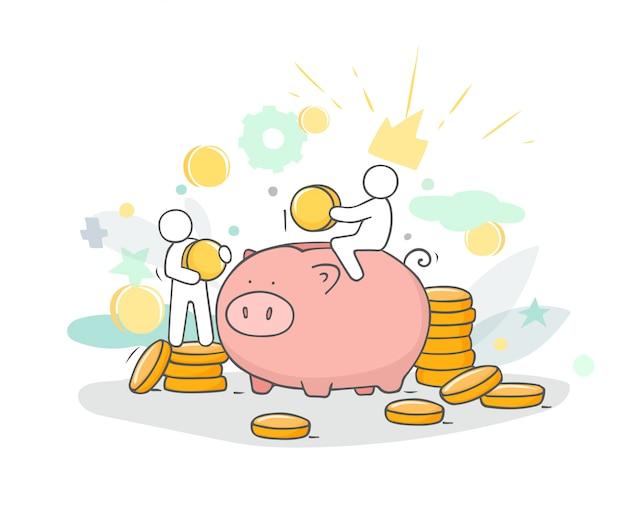 Сделайте эскиз к иллюстрации с маленькими людьми и монетами. Premium векторы