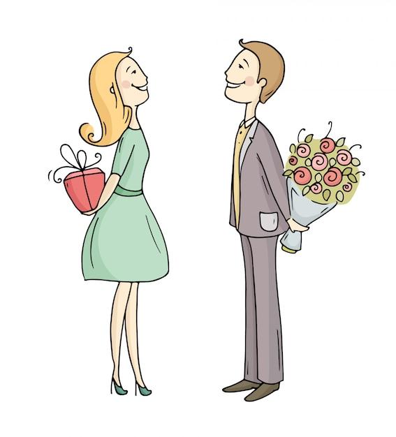 Обмен подарками между партнерами. Premium векторы
