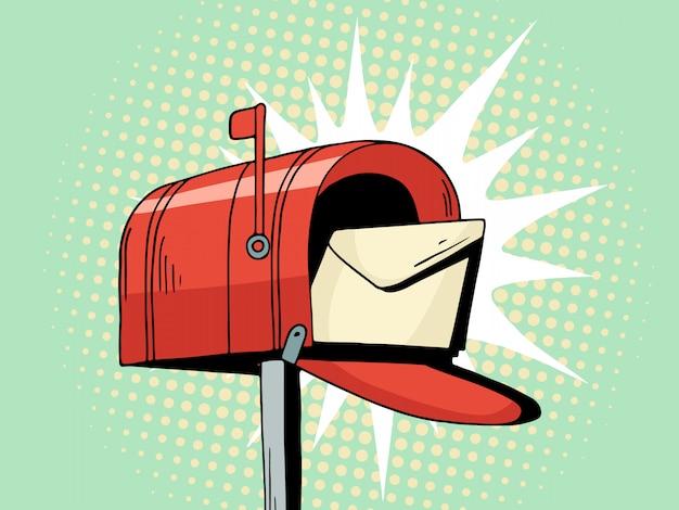 漫画ポップアート赤いメールボックスは手紙を送る Premiumベクター