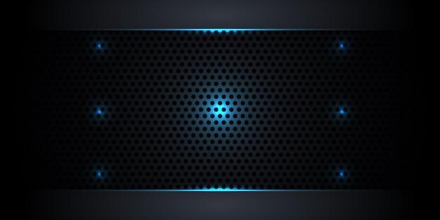 Абстрактная темная предпосылка волокна углерода с неоновыми светами и светящимися линиями. Premium векторы