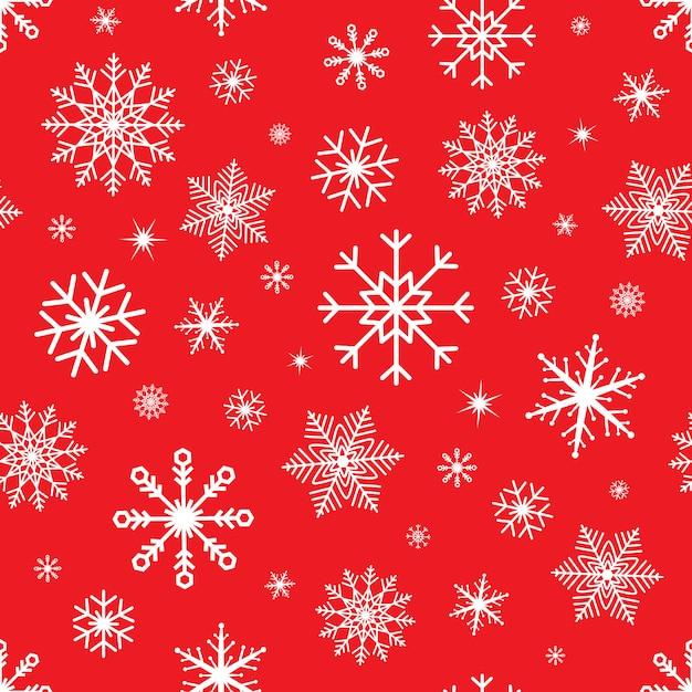 雪のシームレスなクリスマス。赤の背景にスノーフレークパターン。冬 Premiumベクター