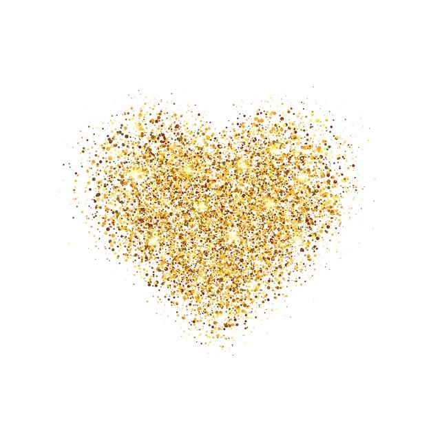 Светящееся сердце с блестками и звездной пылью. Premium векторы