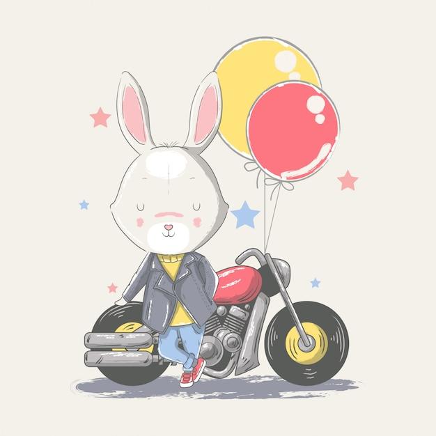 Рисованной иллюстрации милый ребенок кролик с мотоциклом. Premium векторы