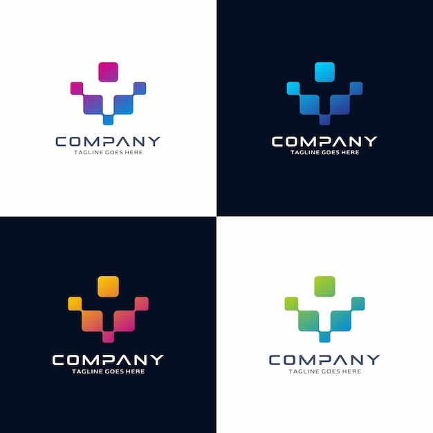 抽象的な技術のロゴデザイン Premiumベクター