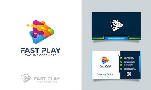Быстрая игра логотип с визиткой Premium векторы