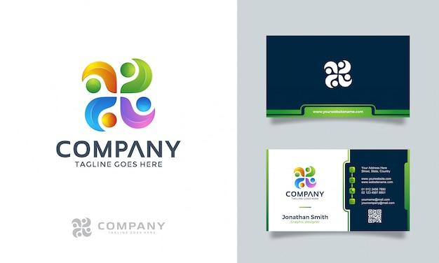 名刺と抽象的なロゴ Premiumベクター