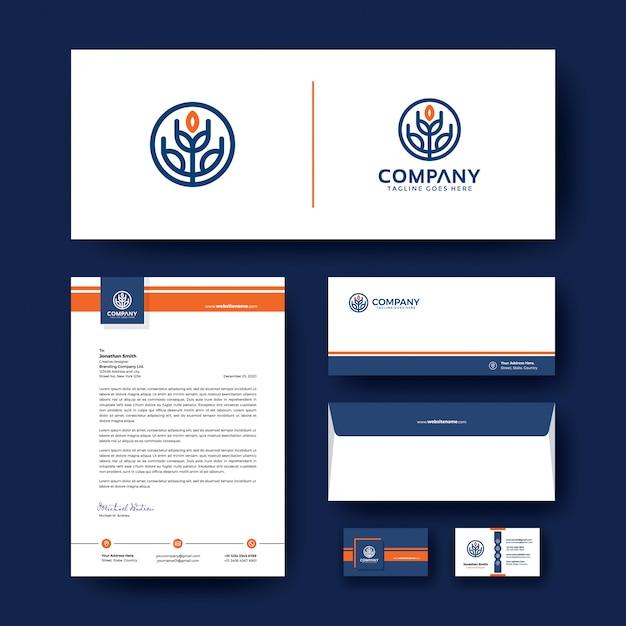 封筒、名刺、レターヘッドのある編集可能なコーポレートアイデンティティ。 Premiumベクター