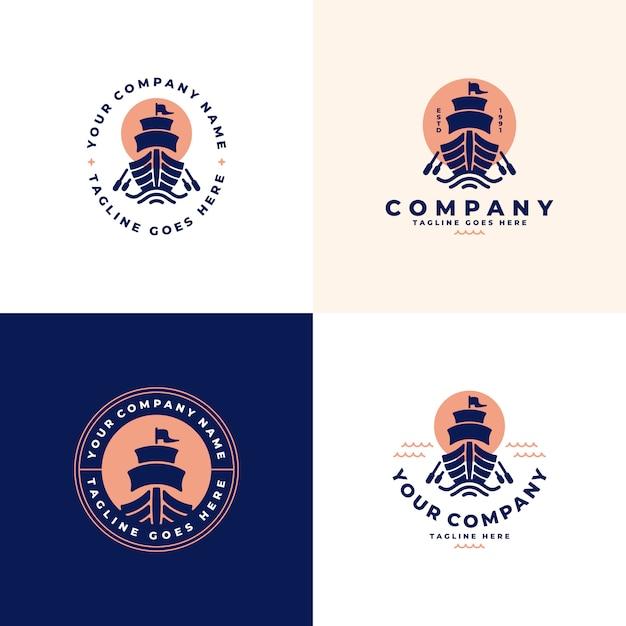 Корабль, коллекция логотипов лодок Premium векторы