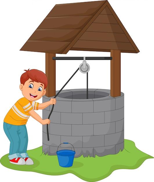 Мальчик взять воду в колодец Premium векторы