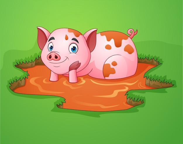 Мультяшная свинья играет грязную лужу на ферме Premium векторы
