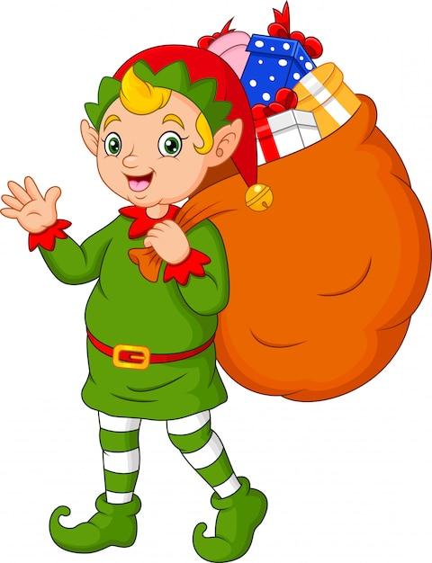 Мультяшный рождественский эльф с мешком подарков Premium векторы