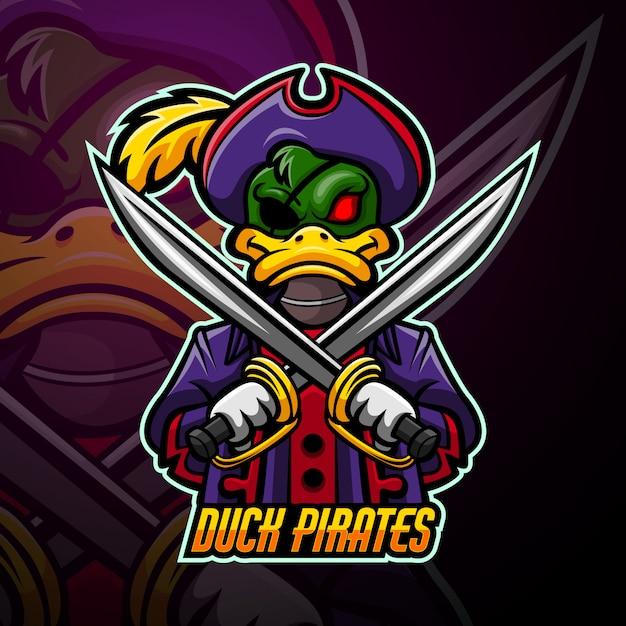 Утка пираты талисман кибер дизайн логотипа Premium векторы
