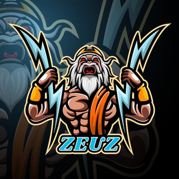 Зевс талисман киберспорт дизайн логотипа Premium векторы