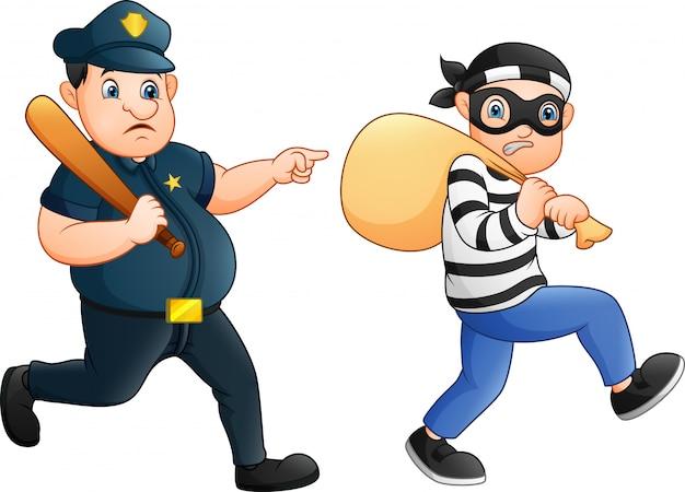 Полицейский пытается преследовать вора Premium векторы