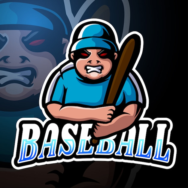 Бейсболист киберспорт логотип дизайн талисмана Premium векторы