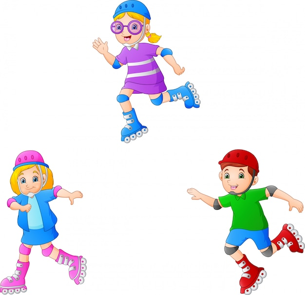 ローラースケートをしている漫画の子供 Premiumベクター