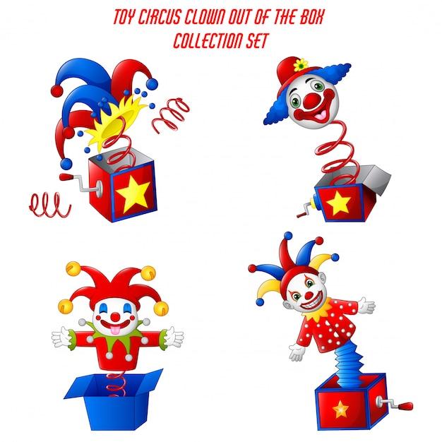 Набор игрушек цирковой клоун из коробки Premium векторы