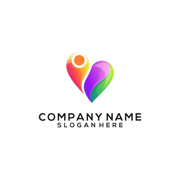 Люди любят абстрактный логотип Premium векторы