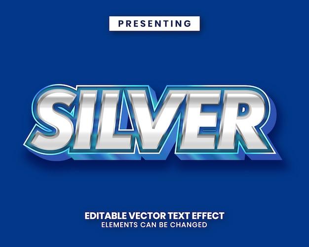 Синий серебристый блестящий металл редактируемый текстовый эффект фильма Premium векторы