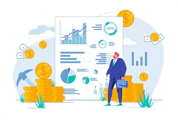 グラフ、チャートでレポートを見て実業家。 Premiumベクター