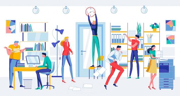 Взволнованные мультипликационные люди в офисе Premium векторы
