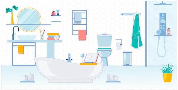 Просторная ванная комната для двоих, векторные иллюстрации. Premium векторы
