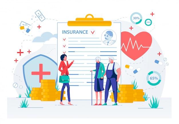 Медицинское страхование для пожилых людей. Premium векторы
