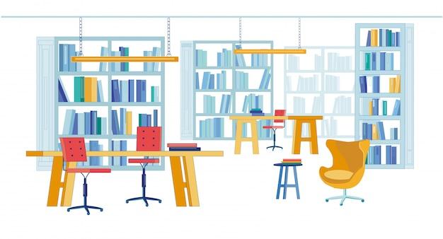 Читальный зал в библиотеке университета печатных книг Premium векторы