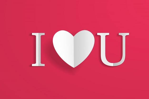 ペーパークラフト折り紙の心とレタリング、私はあなたを愛して、赤に分離されました。 Premiumベクター