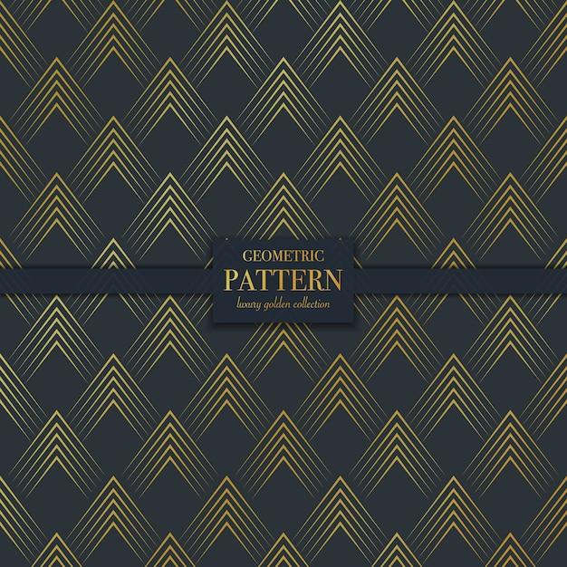 Роскошный геометрический узор темно-золотой линии Premium векторы