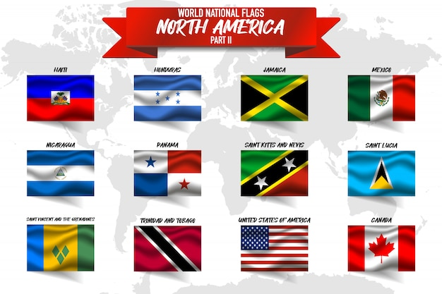 世界地図背景に北アメリカ国の国旗のセット。 Premiumベクター