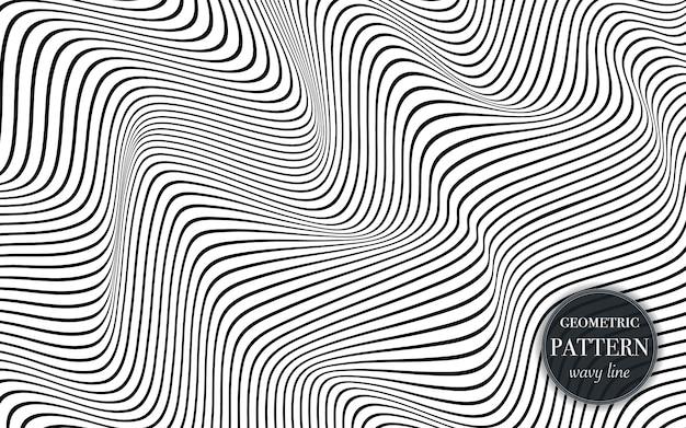 抽象的な手を振るラインパターン背景。 Premiumベクター