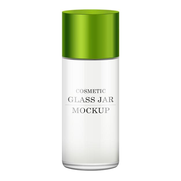 Реалистичная белая стеклянная банка с зеленой пластиковой крышкой для косметики Premium векторы