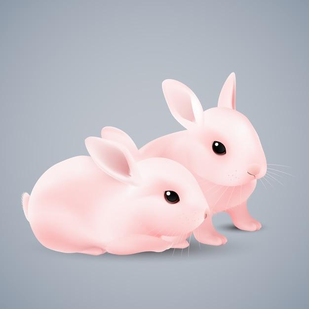 灰色のピンクのウサギ Premiumベクター