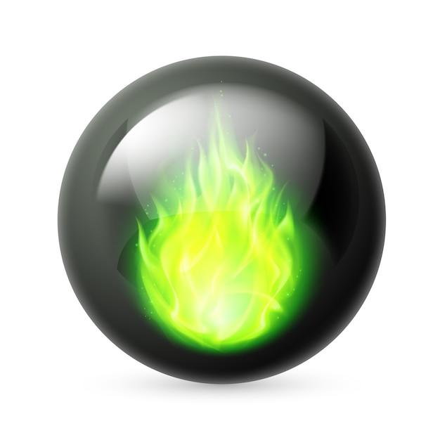 Сфера с огнем пламени Premium векторы