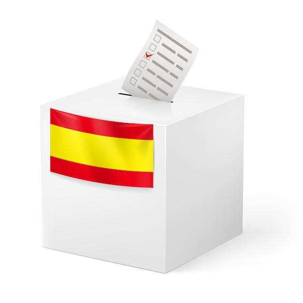 Урна с голосовой бумагой. испания. Premium векторы