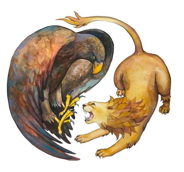 イーグルとライオン。水彩図面。 Premiumベクター
