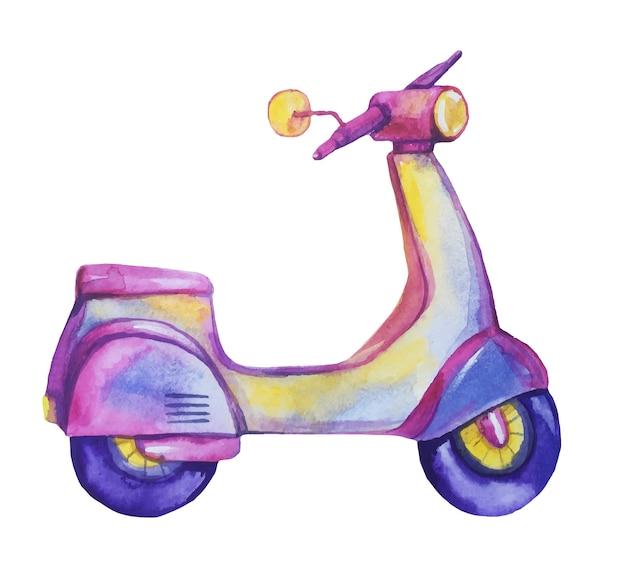 水彩の手描きバイオレットスクーター。 Premiumベクター