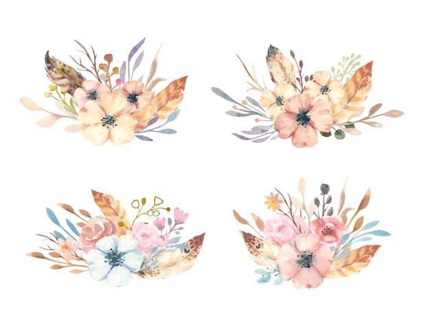 Акварель рисованной бохо букет с цветами, ветвями и перьями. Premium векторы