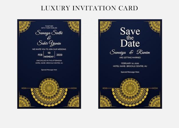 マンダラスタイルの黄金の結婚式の招待カードのデザインテンプレート Premiumベクター