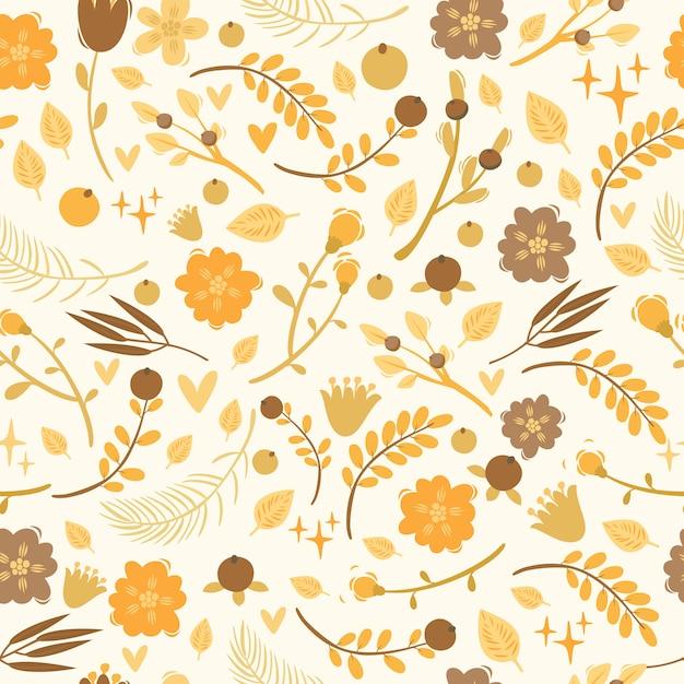 植物、果実、花とのシームレスなパターンベクトル。落書き要素 Premiumベクター