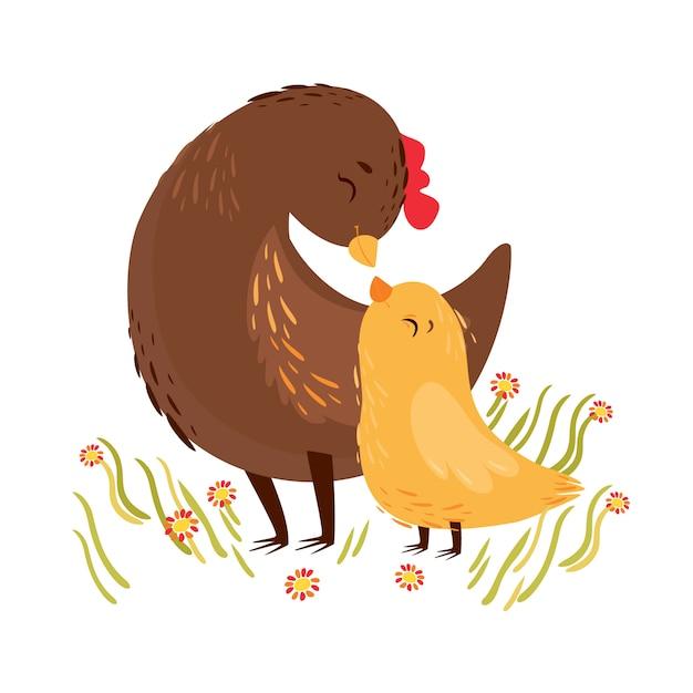 Векторная иллюстрация курица мама и курица ребенка. открытка, день матери Premium векторы