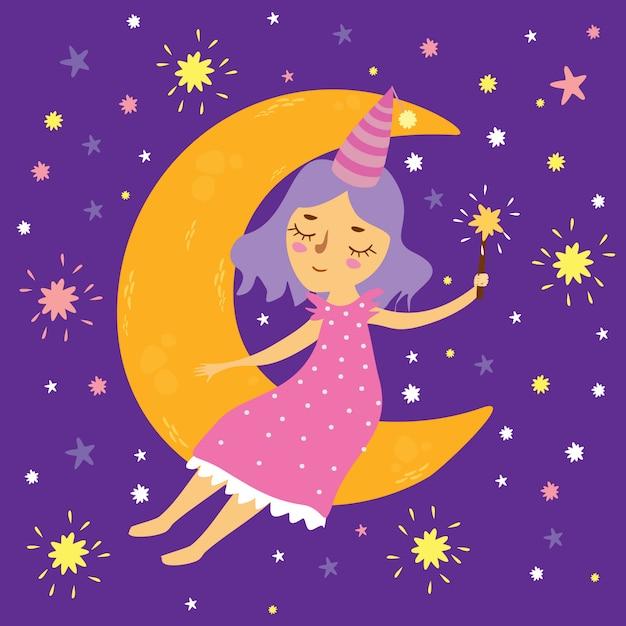 Векторная иллюстрация девушки в космосе, сидя на луне с волшебной палочкой, спокойной ночи Premium векторы