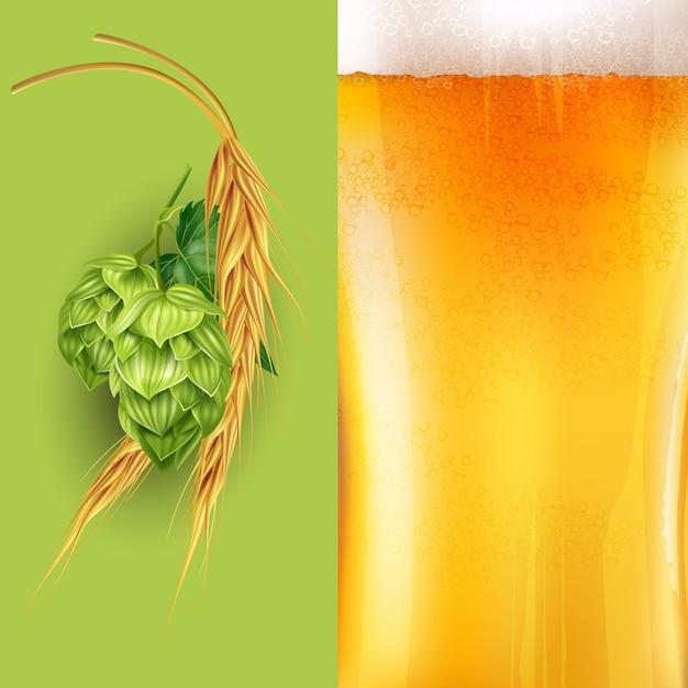 Иллюстрация хмеля, солода и пива Premium векторы