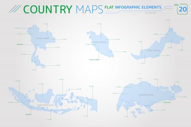 Векторные карты таиланда, малайзии, индонезии и сингапура Premium векторы